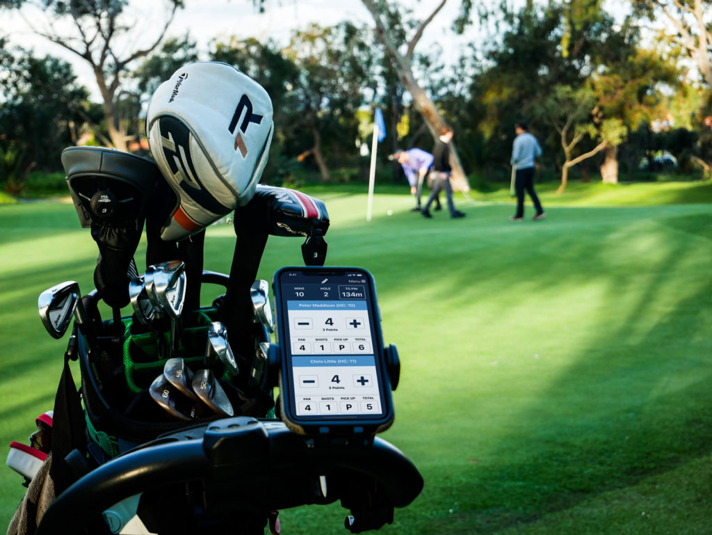 MiScore app on golf buggy at the green