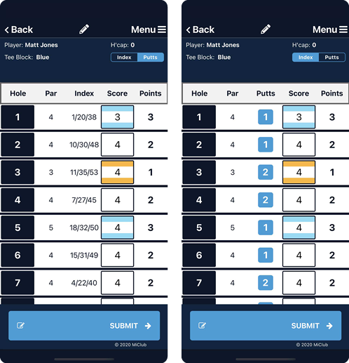 Scorecard Screens with Putts Toggle
